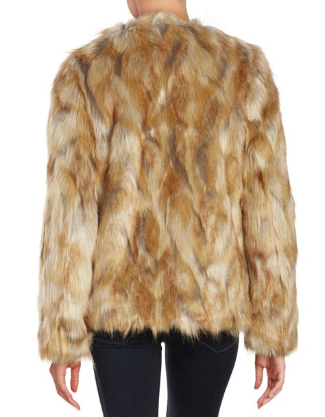 Patchwork Faux Fur Coat - lyst lord faux fur patchwork coat in brown