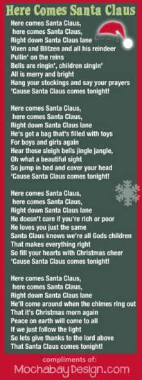 printable lyrics for santa claus is coming to town print here comes santa claus christmas song lyrics bookmark