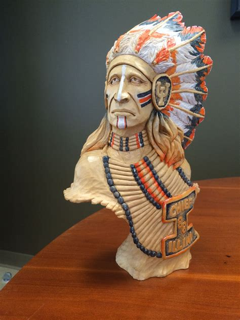 chief illini bust  kenneth connell  woodcarvings