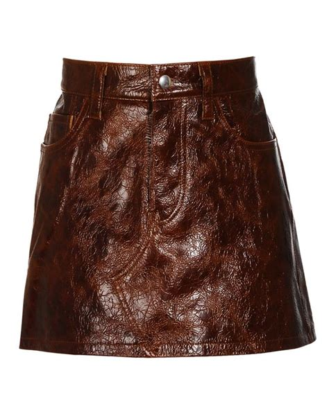 junya watanabe creased leather mini skirt in brown lyst