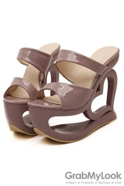 Glossy Wedges shiny glossy brown platforms wedges high heels