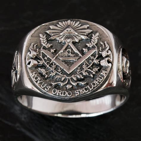 illuminati ring 925 silver freemason signet ring knights templar cross