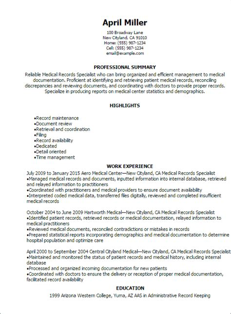 Clinical Documentation Specialist Cover Letter by Records Manager Resume 28 Images Best Photos Of Records Clerk Resume Records Records