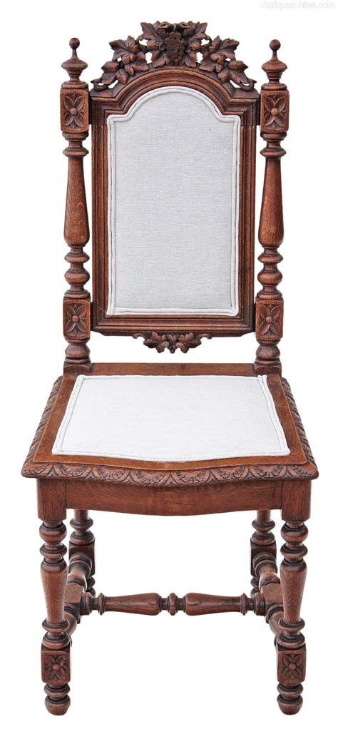 set   victorian gothic carved oak dining chairs