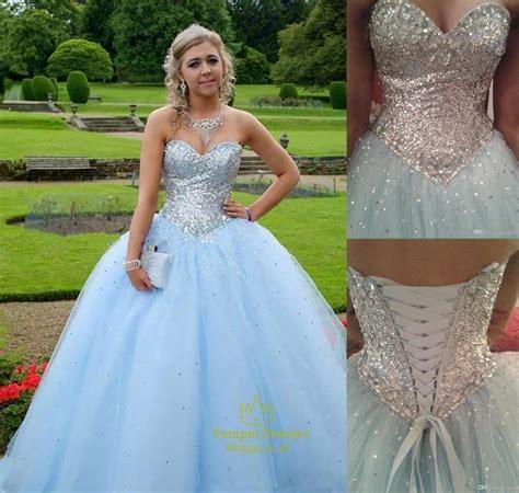Light Blue Strapless Sequin Beaded Top Ball Gown Wedding