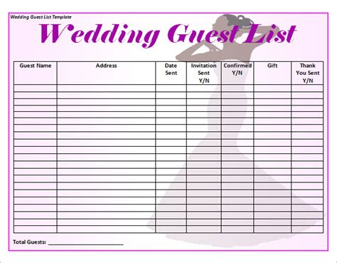 Printable Wedding Guest List Template 17 Wedding Guest List Templates Pdf Word Excel Sle Templates