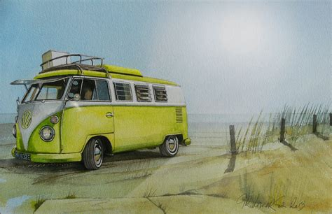 volkswagen bus beach yellow vw bus by the sea wallpaper re pinned by http