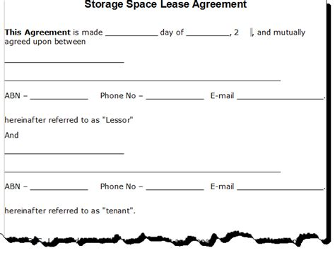 storage lease agreement template free printable documents