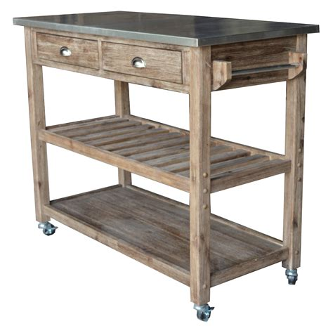 Kitchen Cart And Island Sonoma Wire Brush Rustic Finish Kitchen Cart Kitchen Islands And Carts At Hayneedle