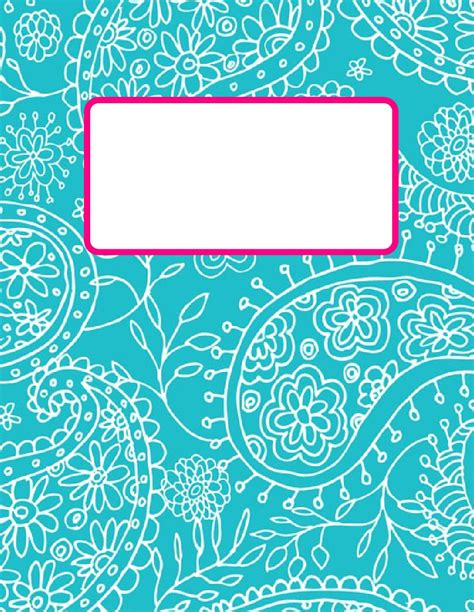 printable binder cover sheets printable turquiouse paisley 2012 2013 teacher bindercover