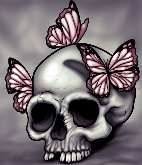 and butterfly how to draw a skull and butterflies step by step skulls pop culture free