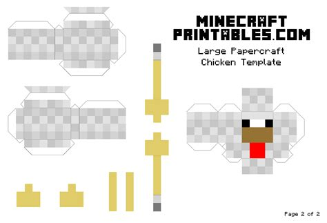 Print Papercraft - chicken printable minecraft chicken papercraft template