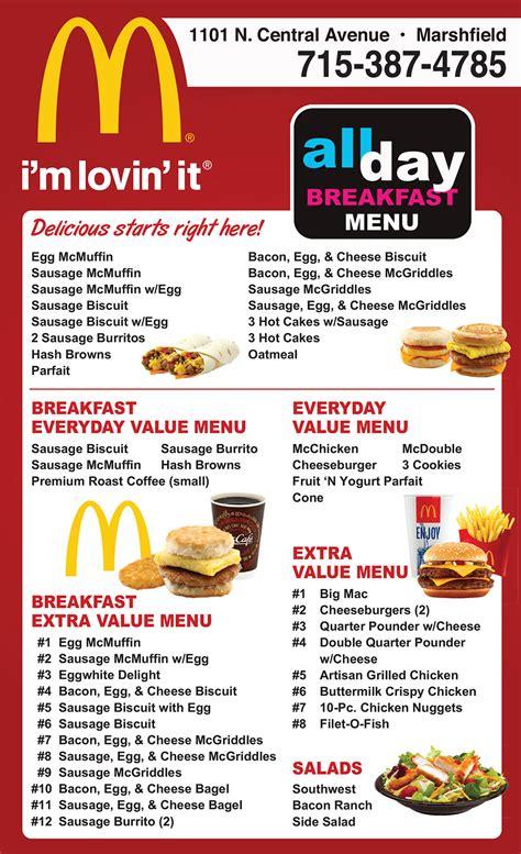 McDonald's   Fast Food   Menu   Restaurant Marshfield WI