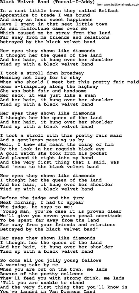 black velvet lyrics black velvet band tooral i addy by the dubliners song