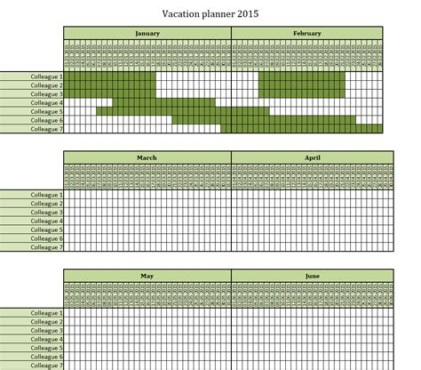Vacation Calendar 2015 Employee Vacation Planner Myideasbedroom