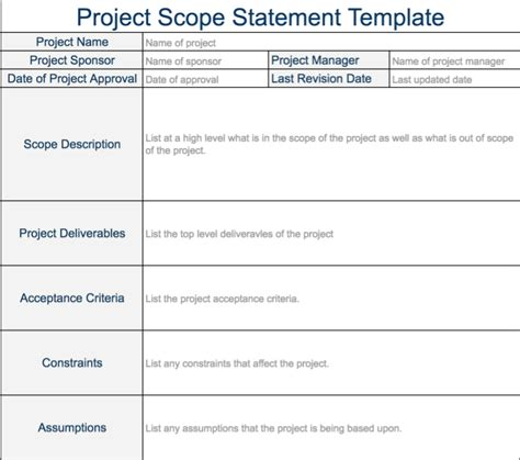 project objective statement exle project scope statement free projectemplates