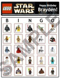 printable lego star wars bingo cards lego star wars party ideas on pinterest 25 pins