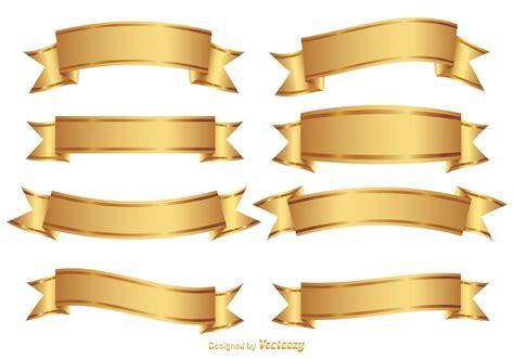 Golden Wedding Banner by Golden Decorative Banner Set Free Vector