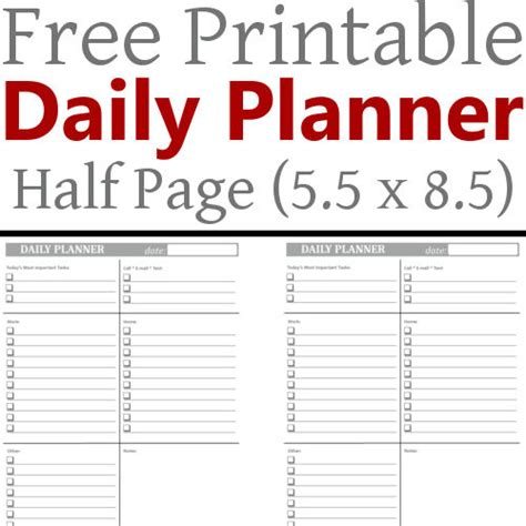 Printable Planner Pages 5 5 X 8 5 diy home sweet home daily planner 5 5 x 8 5 free