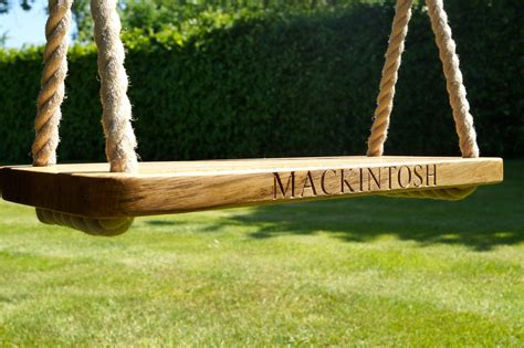 in swing engraved oak swings with rope makemesomethingspecial