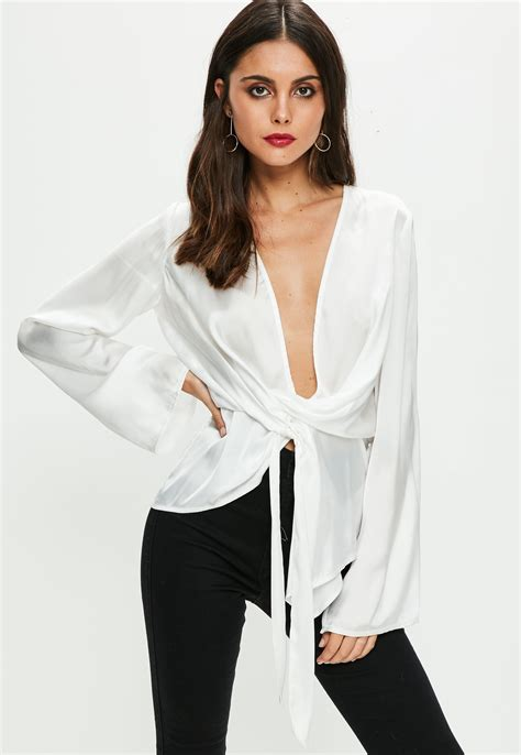 White Tops And Blouses Uk by Lyst Missguided White Satin Chiffon Drape Blouse In White