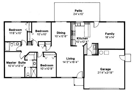 ranch style house plan 4 beds 2 00 baths 1500 sq ft plan 36 372 4 bedroom ranch style house floor plans house plans 4