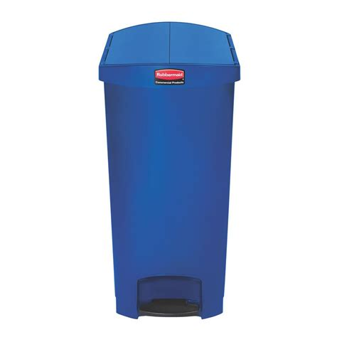 slim jim trash can rubbermaid commercial products slim jim step on 24 gal blue plastic end step trash can