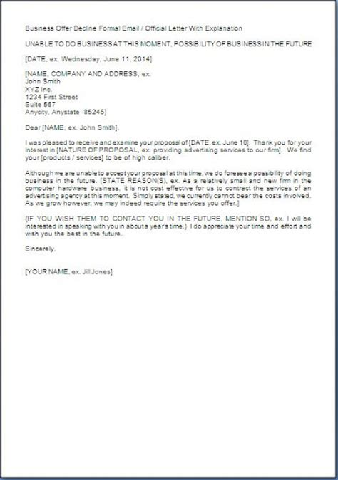 Rejection Letter Grant Business Rejection Letter