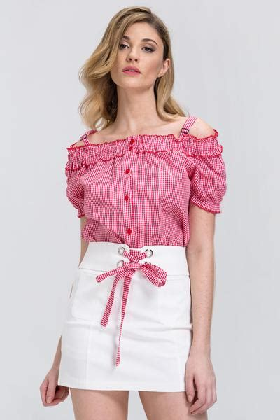 Top Flowhite Skirt Set gingham button up top and white skirt 2 set set
