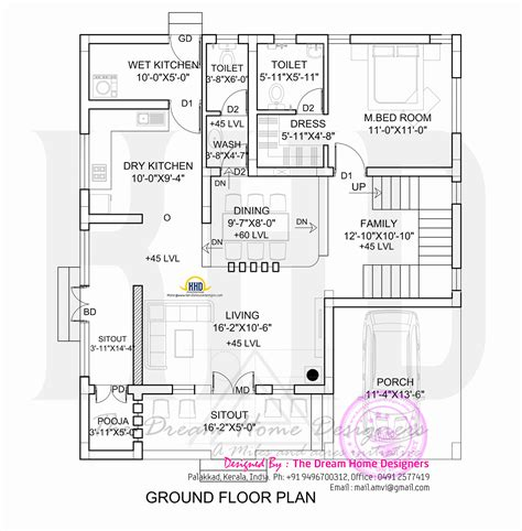 ground floor and floor plan 1700 sq 3d house elevation and plan kerala home design and floor plans