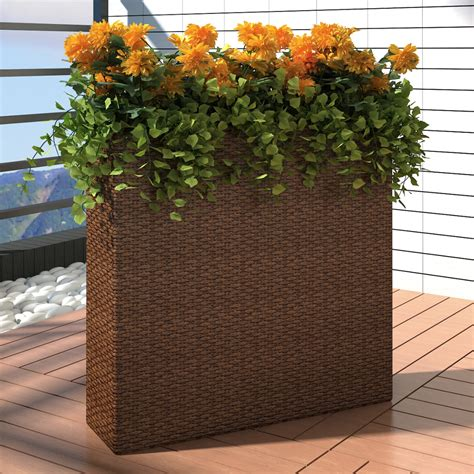 Outdoor Planter Sets by Garden Rectangle Rattan Planter Set Brown Vidaxl