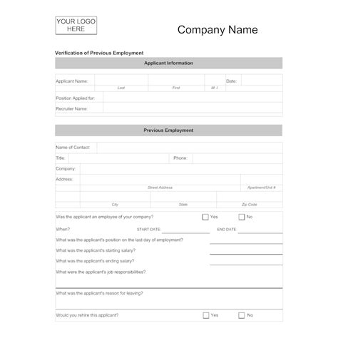 Verification Of Previous Employment Employment Verification Form Template