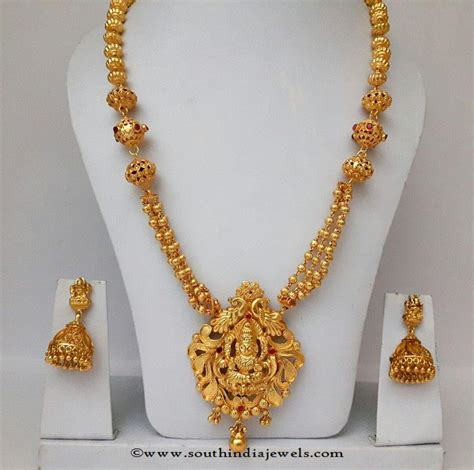 south hill design necklaces gold plated long haram with jhumka gold