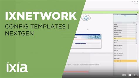 ixnetwork configuration templates nextgen youtube