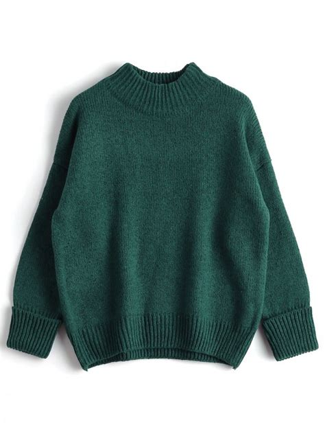 Sweater Rajut Pria Mock Turtleneck Green 1 heathered mock neck sweater green sweaters one size zaful