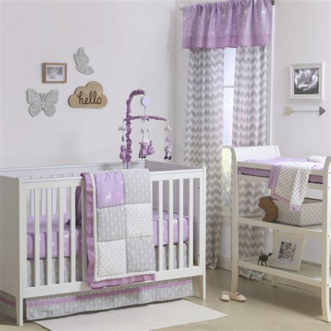Purple And Grey Crib Bedding Sets And Free Patchwork Crib Starter Set In Purple Grey