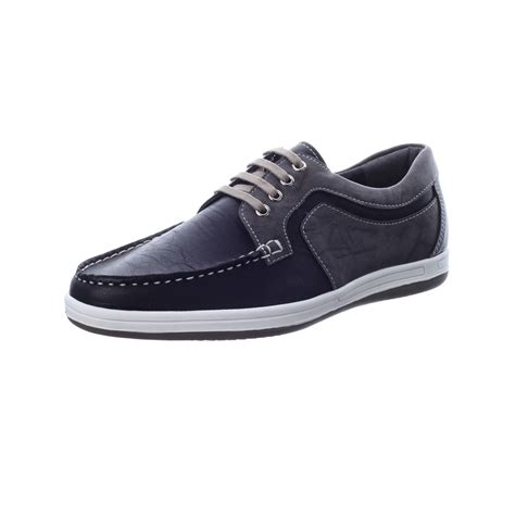 mens black synthetic leather non slip rubber sole lace up sports fashion casual sneakers