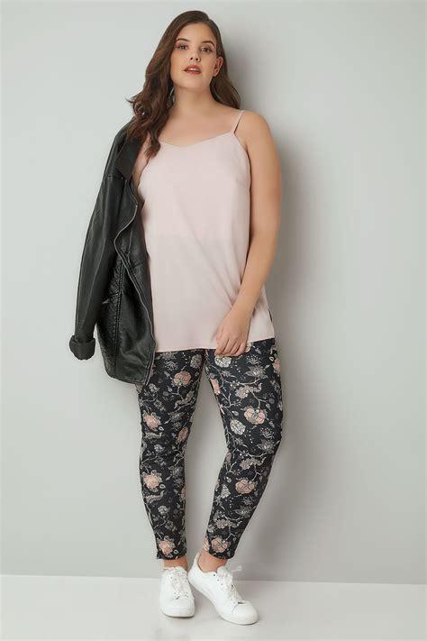 Nella 3 Rami Woven All Size Fit L Celana Panjang Wanita Muslim black floral print slim trousers plus size 16 to 32