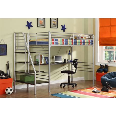 metal loft bed with desk and shelving donco metal stairway study loft metal