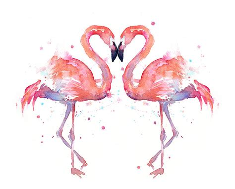 Shark Duvet Cover Flamingo Love Watercolor Painting By Olga Shvartsur