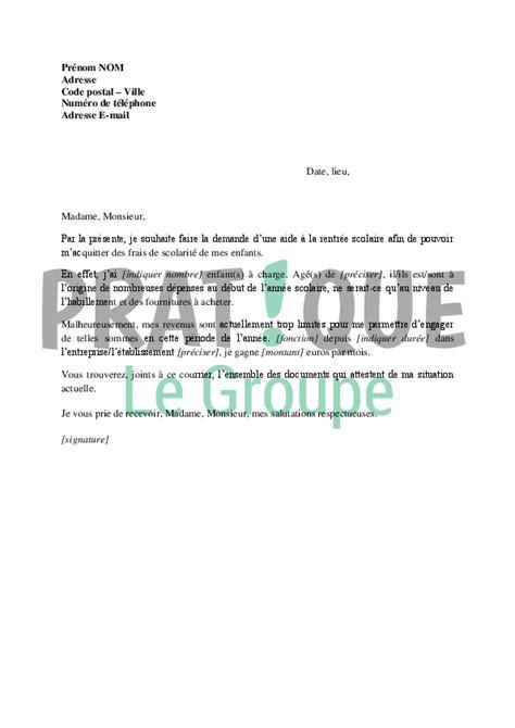 Demande De Catalogue Lettre Lettre De Demande D Aide De Rentr 233 E Scolaire 224 La Caf Pratique Fr
