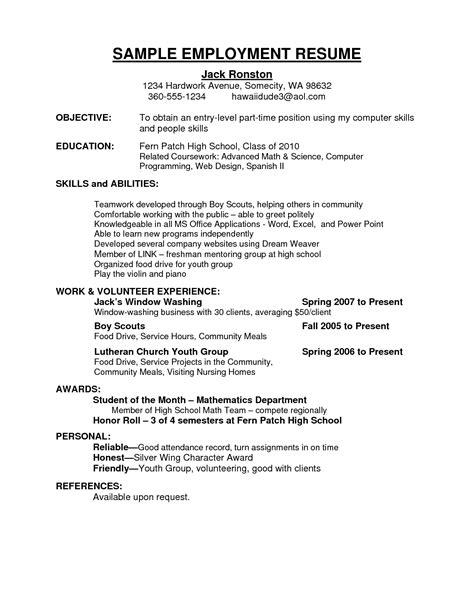 middle school resume template employment resume free excel templates