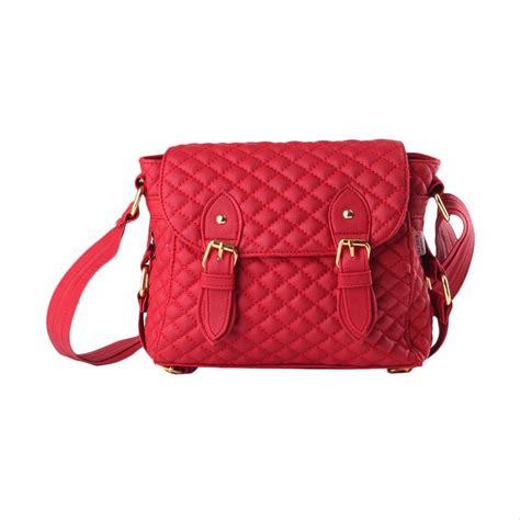 jual termurah tas wanita selempang sling bag merah lokal