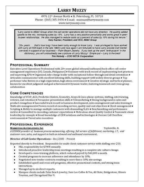 Resume Operations Manager Call Center customer service operations manager resume