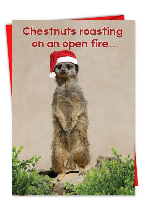 chestnuts roasting meerkat naughty christmas card