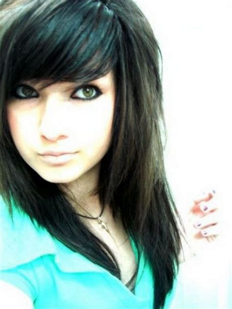 old goth bangs hairstyle love the long chunky layers with side swoop bang emo cut