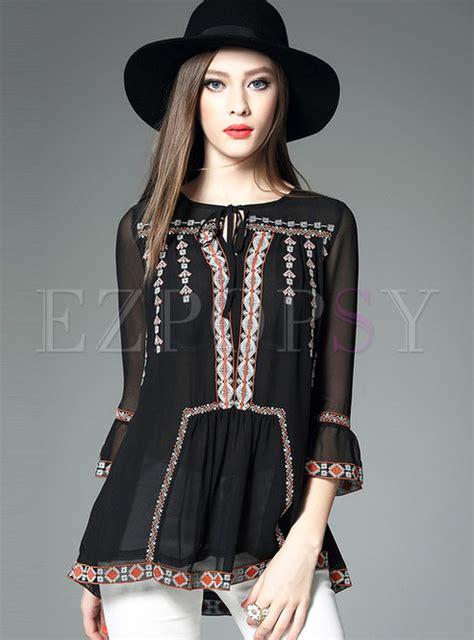 3 4 Sleeve Embroidery Blouse ethnic 3 4 sleeve embroidery chiffon blouse ezpopsy