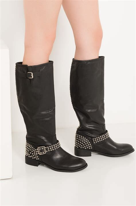 akira knee high  buckle studded patent faux leather  heel boots  black