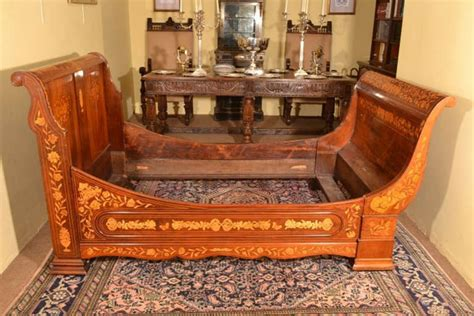 Antique Sleigh Bed Antique Mahogany Marquetry Sleigh Bed C 1830 At 1stdibs
