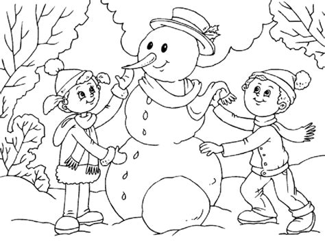 Imagenes De Invierno Infantiles Para Colorear | invierno dibujos para colorear